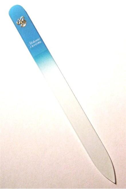 BOHEMIA CRYSTAL Sklenený pilník na nechty s potlačou - 140mm - sv. modrý