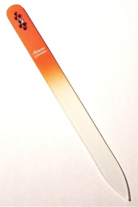 BOHEMIA CRYSTAL Sklenený pilník na nechty Swarovski - 140mm - oranžový