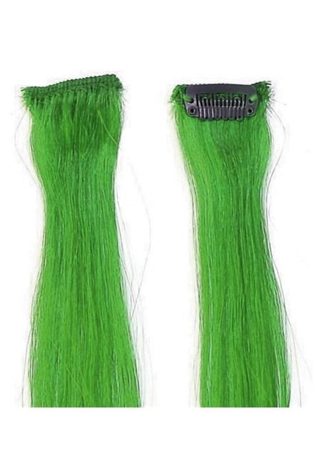 SIMPLY PERFECT Trendy 4ks - Vlasy na predĺženie Human Hair 47cm na spone - Green