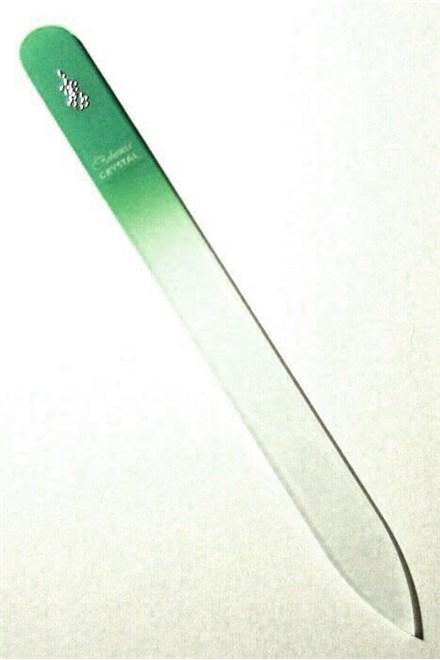 BOHEMIA CRYSTAL Sklenený pilník na nechty s potlačou - 140mm - zelený