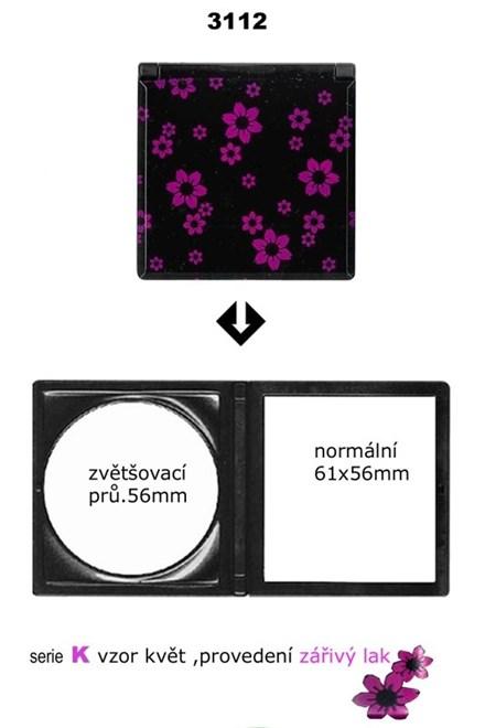 DUKO Kozmetika Skladací kadernícke zrkadlo do kabelky obojstranné - serie K vzor kvet