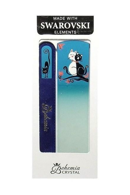 BOHEMIA CRYSTAL Cats darčeková sada ručne maľovaných sklenených pilníkov - mačky, modrá