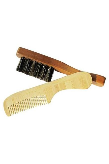 DUKO Beard SET BAM-68 + WC-11 bambusový hrebienok + drevený kefka na fúzy