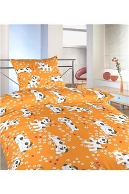 Obliečky krep do postieľky Psíci oranžoví