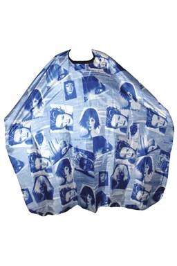 SALON KOMPLET Kadeřnická pláštěnka na stříhání vlasů HLAVA - modrá