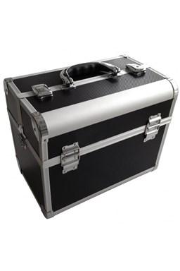 ALU kufor Black Hliníkový kadernícky kufor s kovovými zámkami