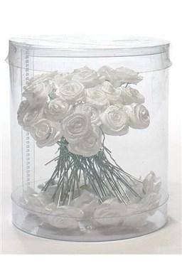 Ozdoby do vlasov Vlásenky s ružičkou 50ks - biele