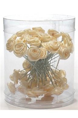Vlasové ozdoby Vlásenky s ružičkou 50ks - béžové