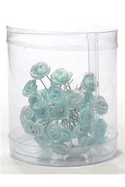 Vlasové ozdoby Vlásenky s ružičkou 50ks - modré