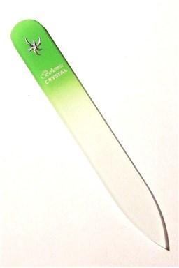 BOHEMIA CRYSTAL Sklenený pilník na nechty s potlačou - 90mm - sv. zelený