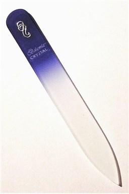 BOHEMIA CRYSTAL Sklenený pilník na nechty s potlačou - 90mm - modrý