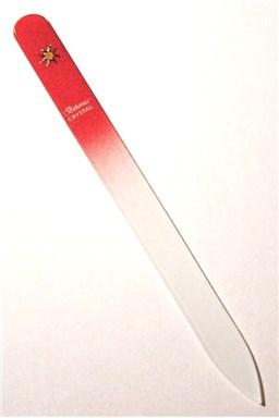 BOHEMIA CRYSTAL Skleněný pilník na nehty s potiskem - 140mm - červený