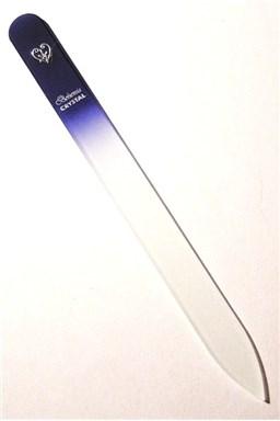 BOHEMIA CRYSTAL Sklenený pilník na nechty s potlačou - 140mm - modrý