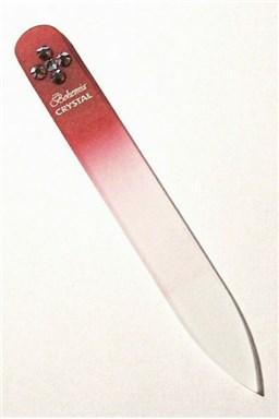 BOHEMIA CRYSTAL Skleněný pilník na nehty Swarovski - 90mm - červený