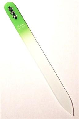 BOHEMIA CRYSTAL Sklenený pilník na nechty Swarovski - 140mm - sv. zelený