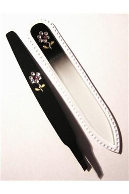 BOHEMIA CRYSTAL SET Swarovski - sklenený pilník 90mm + šikmá pinzeta 97mm - čierna