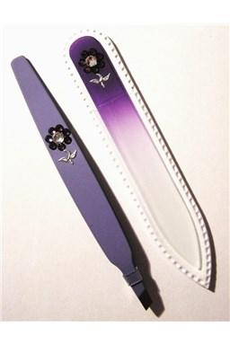 BOHEMIA CRYSTAL SET Swarovski - sklenený pilník 90mm + šikmá pinzeta 97mm - fialová