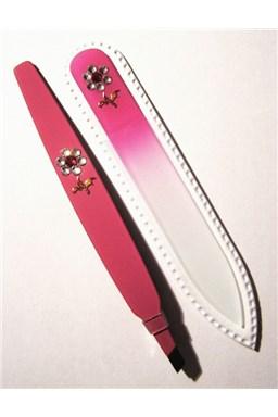 BOHEMIA CRYSTAL SET Swarovski - sklenený pilník 90mm + šikmá pinzeta 97mm - ružová