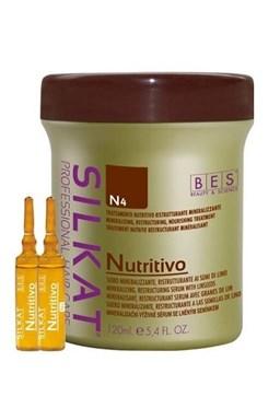 BES Silkat Nutritive Trettamento N4 - výživné sérum na poškodené vlasy 12x10ml
