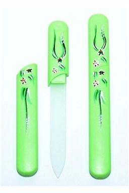 BOHEMIA CRYSTAL Sklenený pilník s krytkou Green - ručne maľovaný s kryštálmi Swarovski