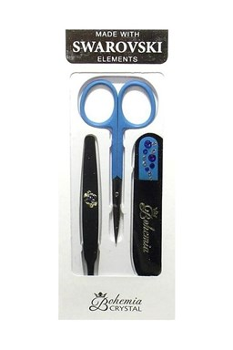 BOHEMIA CRYSTAL Manikura Swarovski - sklenený pilník 90mm + pinzeta + nožnice - modrá