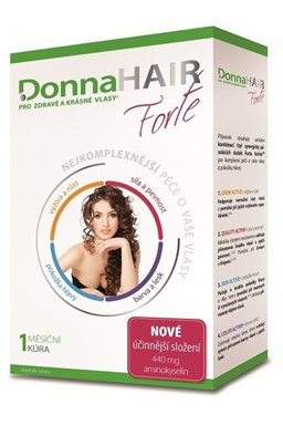 DONNA HAIR Vitamíny na vlasy Forte 30 tobolek - 1 měsíční kúra pro výživu a růst vlasů