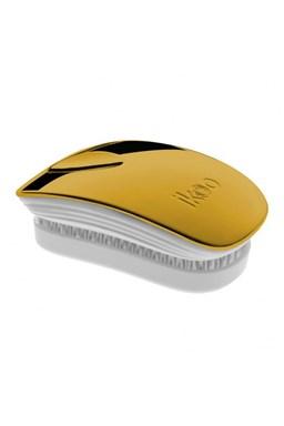 IKOO Pocket Metallic White Soleil - vreckový rozčesávacia kefa - bielo zlatý