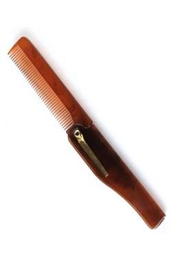 Beard Comb 001BC Brown - skladací hrebeň pre úpravu fúzov a brady - hnedý