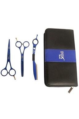 FOX COLOR KIT Set Blue - kadeřnické nůžky 5,5 + efilační nůžky 5,5 + břitva