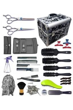 STAR kufr Kansai LEFT Kadeřnický set pro učně - hliníkový kufřík s vybavením pro leváky