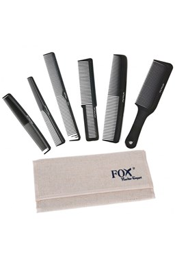 FOX Barber Expert Sada profesionálnych hrebeňov na vlasy - ľanové puzdro