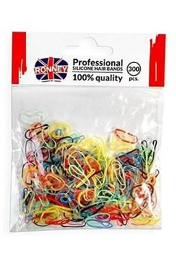 Ronney Profesionálne silikónové gumičky do vlasov 300ks - farebné