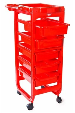 FOX Nábytek Broadway Red - pojizdný kadeřnický pracovní vozík - červený